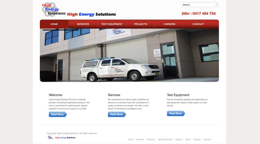 High Energy Solutions old site