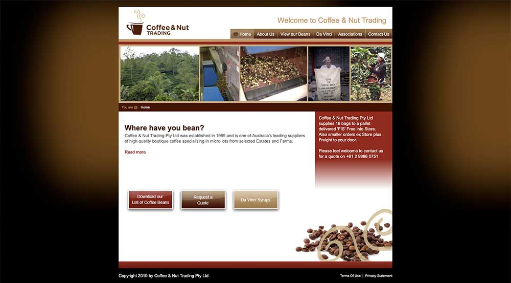 Coffee & Nut Trading old site